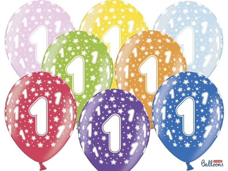 Lot de 10 Ballons multicolores avec inscription 1
