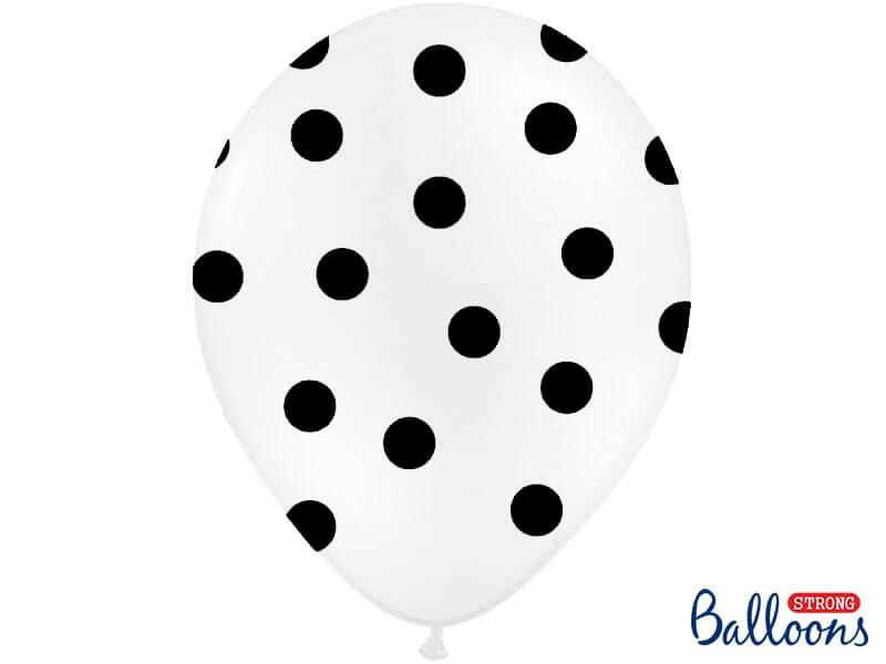 Lot de 10 ballons blancs avec motifs ronds noirs