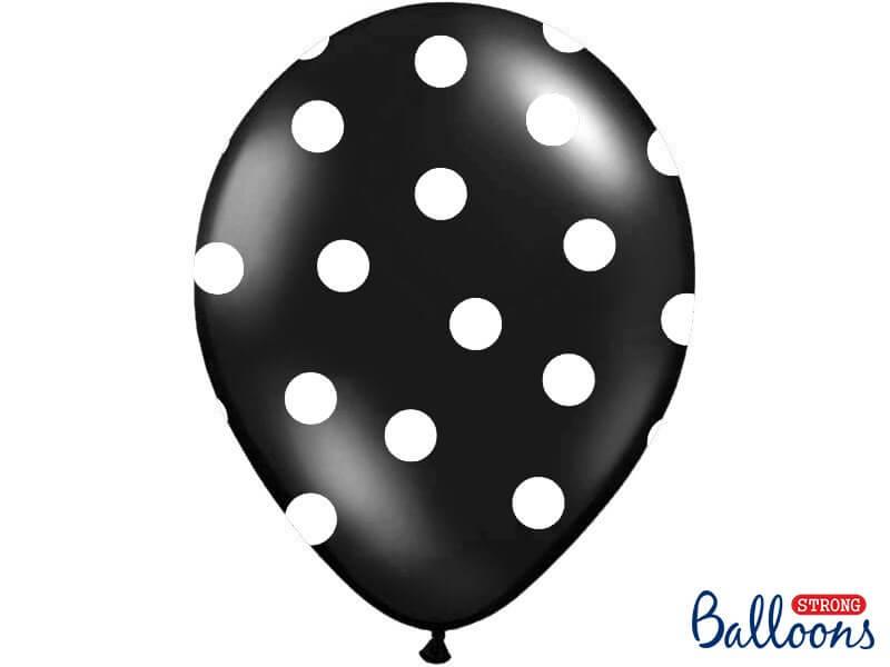 Lot de 10 ballons noirs avec motifs ronds blancs