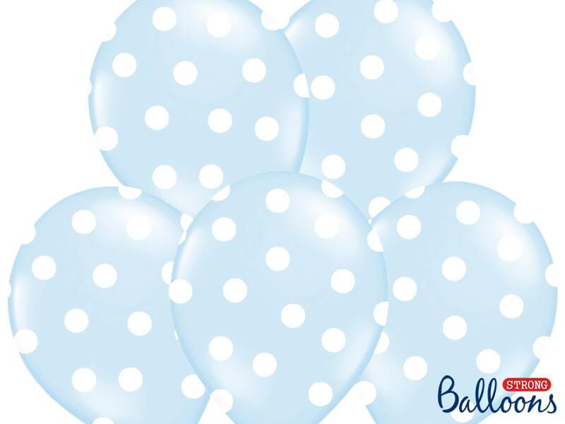 Lot de 10 Ballons bleus avec motifs ronds blancs