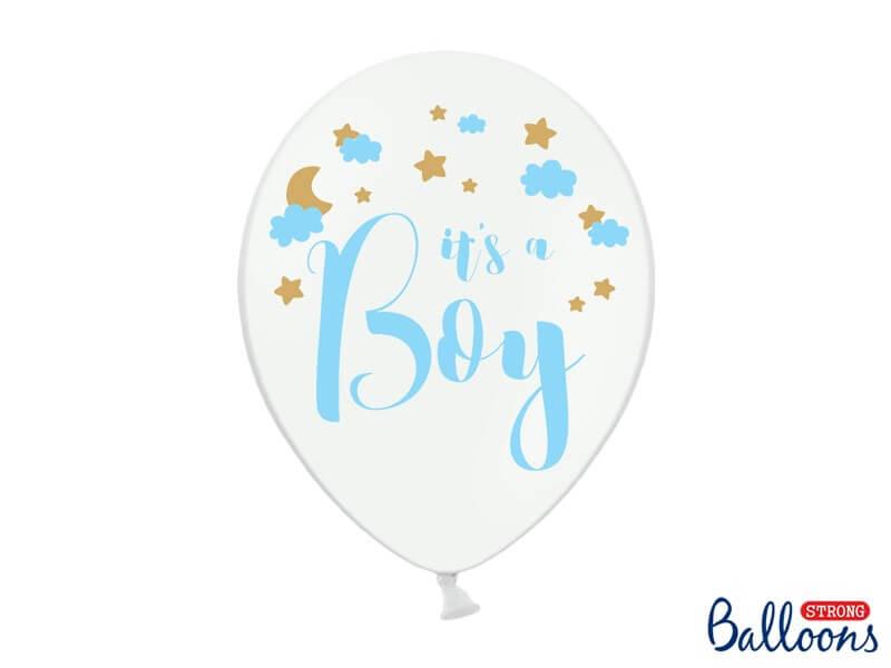 """Lot de 6 ballons blancs avec inscription """"It's a Boy"""""""