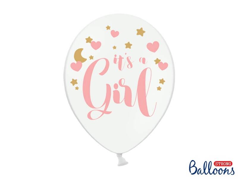 """Lot de 6 ballons blancs avec inscription """"It's a Girl"""""""