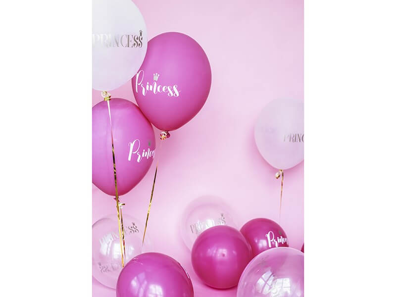 Lot de 10 ballons roses fuchsias avec inscription PRINCESS