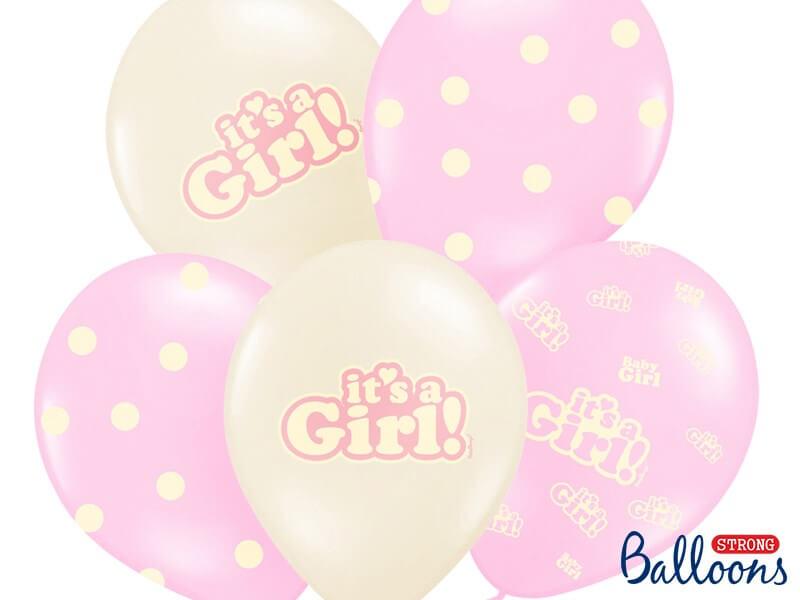 "Lot de 10 ballons ""It's a Girl"" Mix"