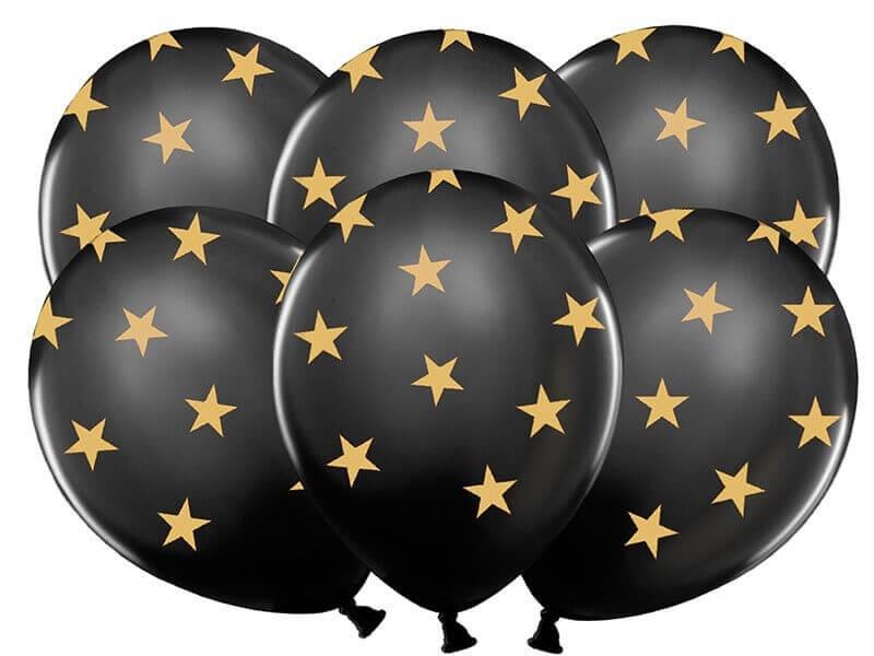 Ballons noirs avec motifs étoile or (Lot de 6)