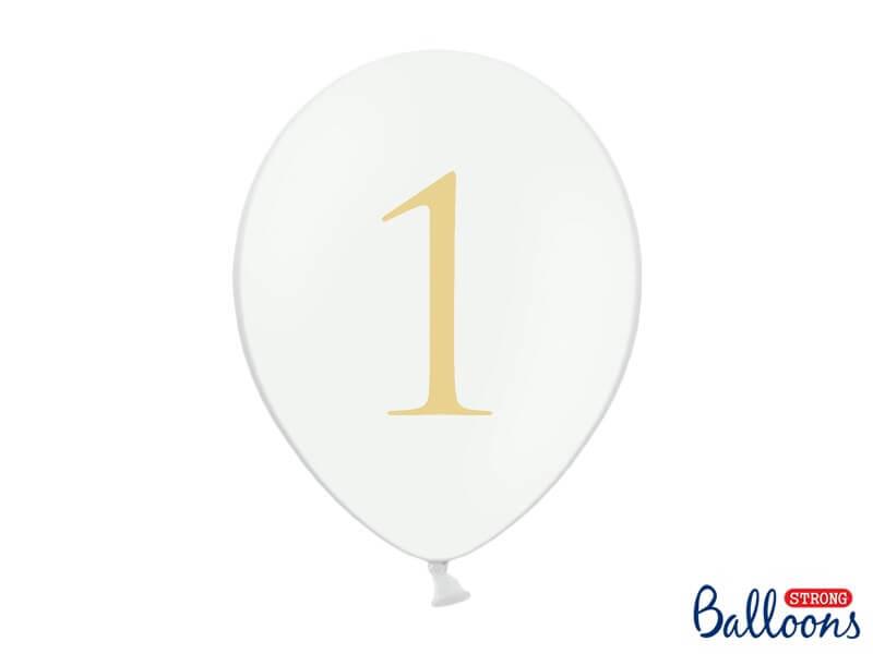 """Lot de 10 ballons blancs avec inscription """"1"""""""