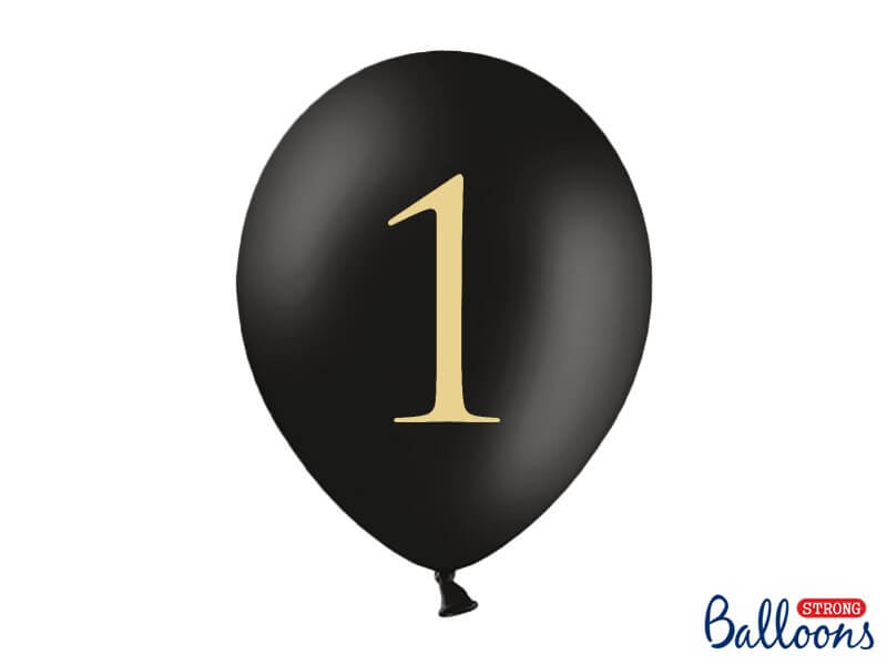"Lot de 10 ballons noirs avec inscription ""1"""