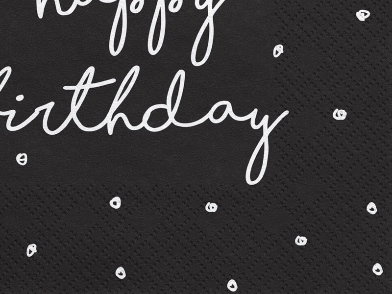 Lot de 20 serviettes en papier Happy Birthday noires