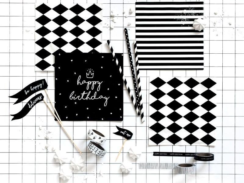 Lot de 20 serviettes en papier Happy Birthday noires