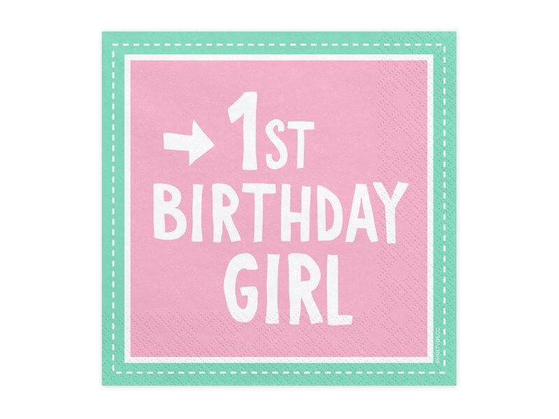Lot de 20 serviettes en papier rose 1st Birthday Girl