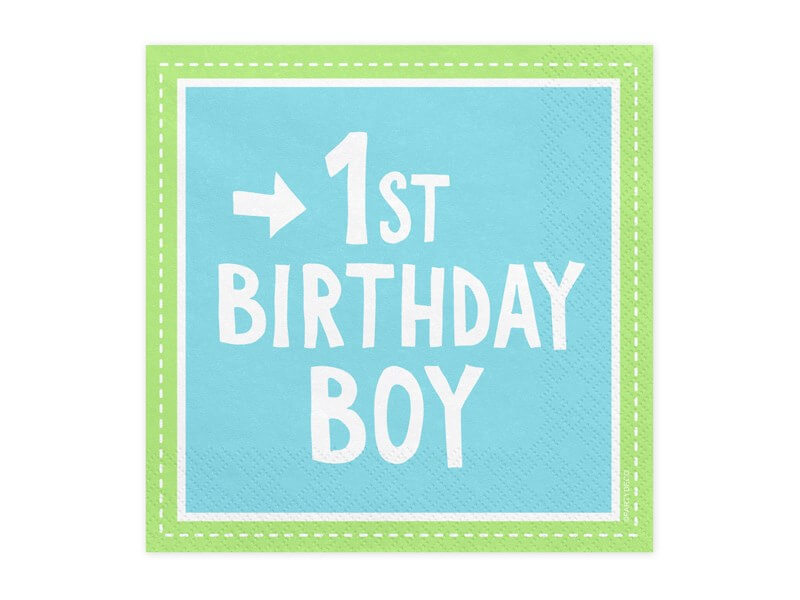 Lot de 20 serviettes en papier bleu 1st Birthday Boy