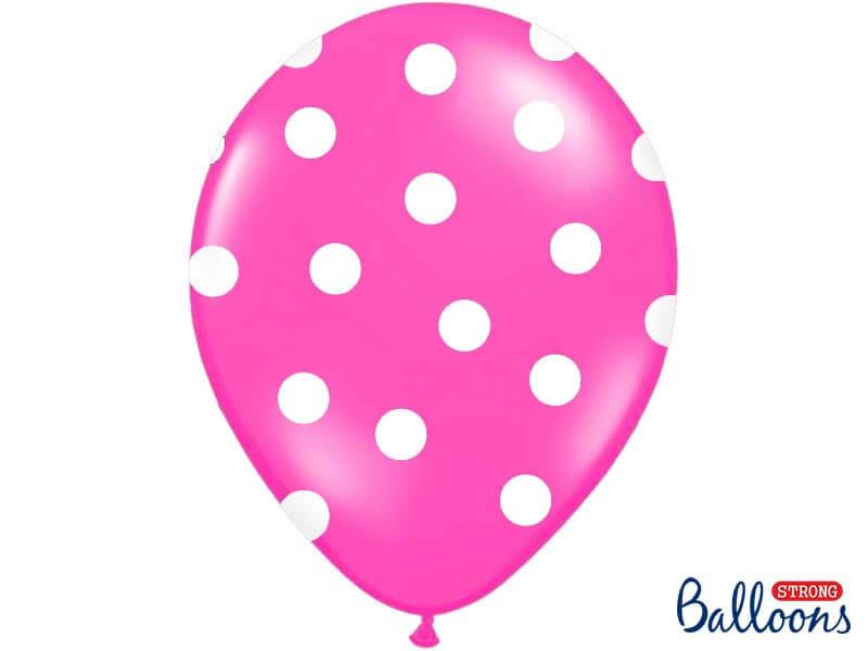 Lot de 10 ballons roses foncés avec motifs ronds blancs