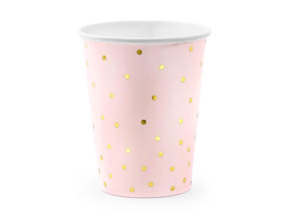 Lot de 6 verres en papier rose avec motif à pois doré