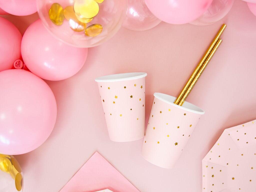 Lot de 6 verres en papier rose avec motif étoile doré