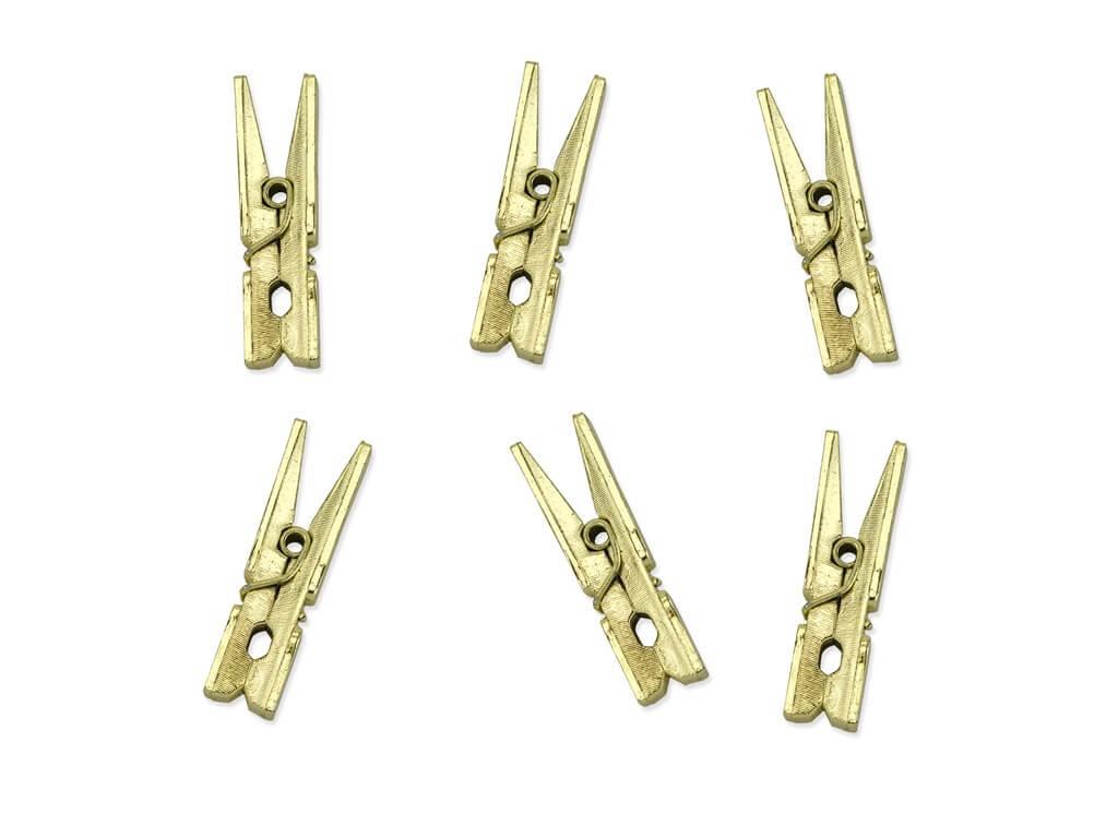 Lot de 20 épingles en bois Or métallique