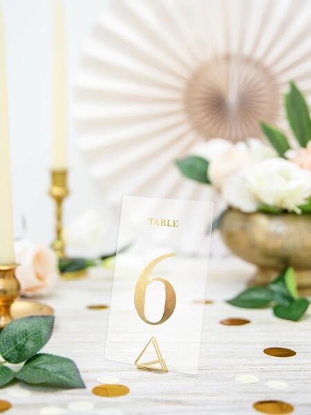 Numéro de table Or sur carte transparente