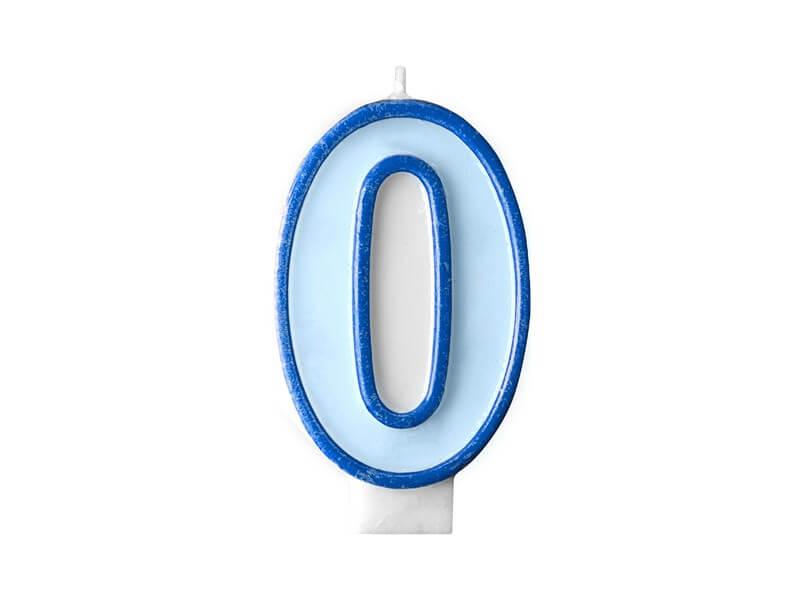 Bougie anniversaire chiffre 0 bleue