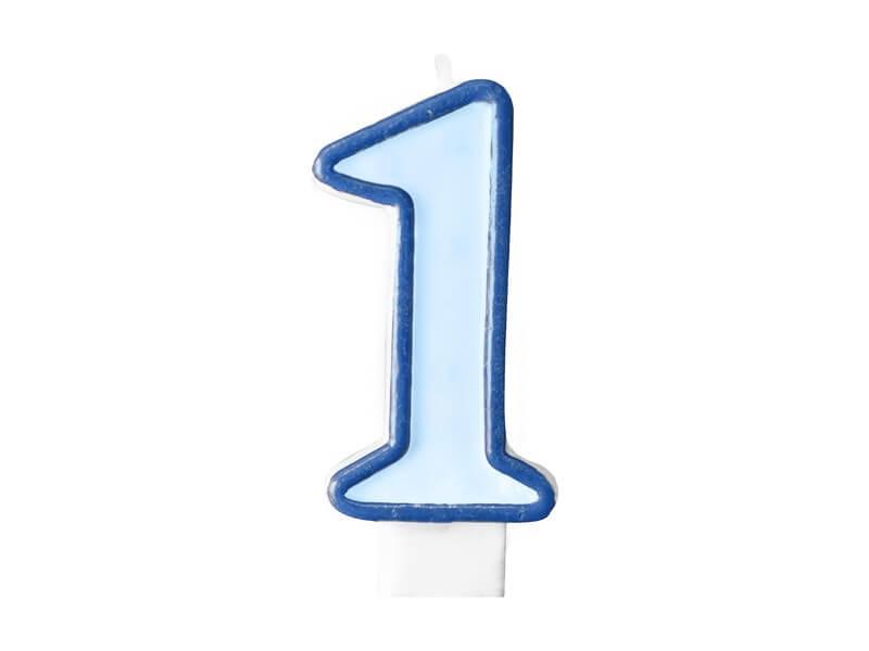 Bougie Anniversaire chiffre 1 bleue