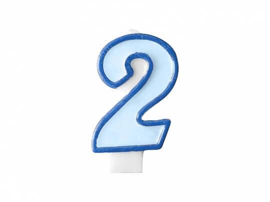 Bougie Anniversaire chiffre 2 bleue