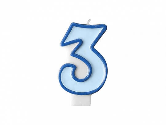 Bougie Anniversaire chiffre 3 bleue
