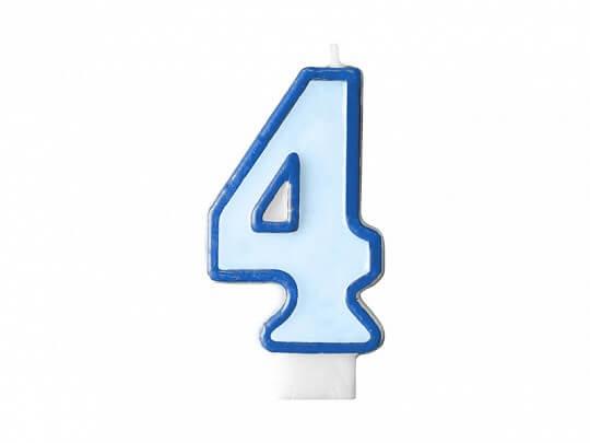 Bougie Anniversaire chiffre 4 bleue