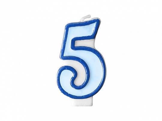 Bougie Anniversaire chiffre 5 bleue