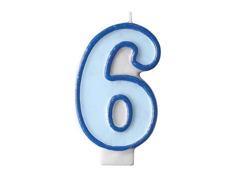 Bougie Anniversaire chiffre 6 bleue