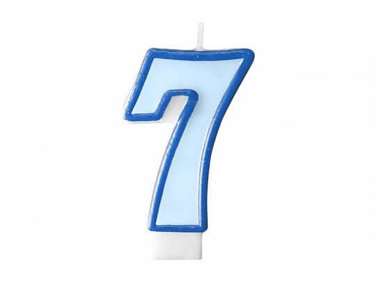 Bougie Anniversaire chiffre 7 bleue