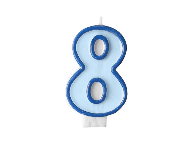 Bougie Anniversaire chiffre 8 bleue