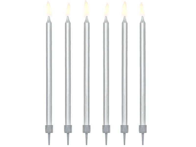 12 bougies anniversaire argent (12,5cm)