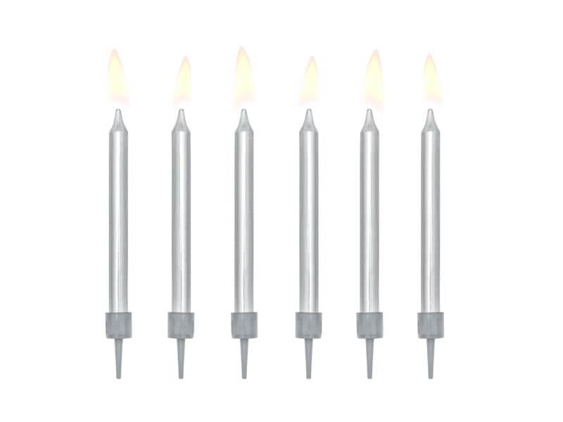 6 bougies anniversaire argent (6cm)