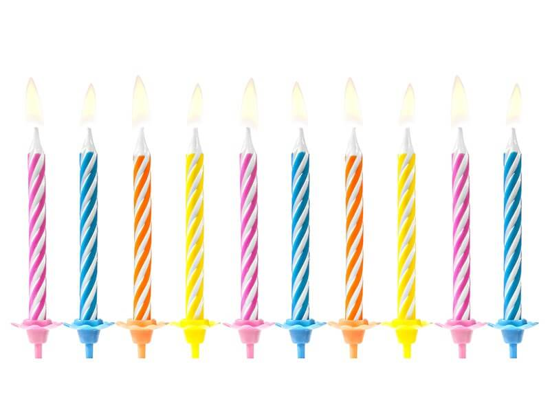 10 bougies anniversaire mixtes (6cm)