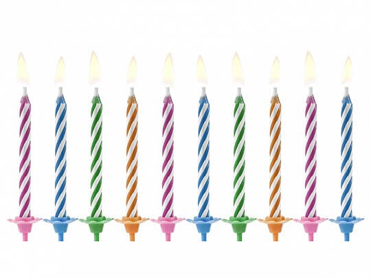 "10 bougies anniversaire mixtes ""Magic"" (6cm)"