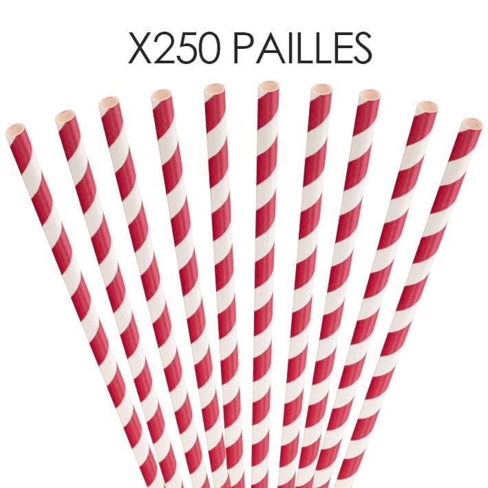 Paille papier rayée rouge 20cm /ø6mm (250 pcs)
