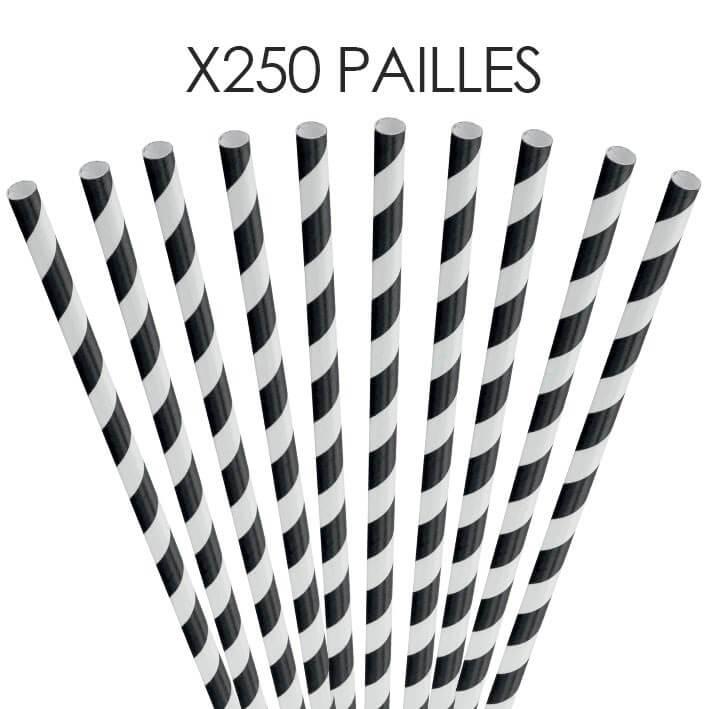 Paille papier rayée noire 20cm /ø6mm (250 pcs)