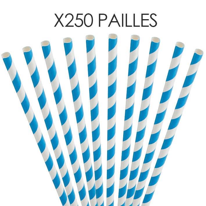 Paille papier rayée bleue 20cm /ø6mm (250 pcs)