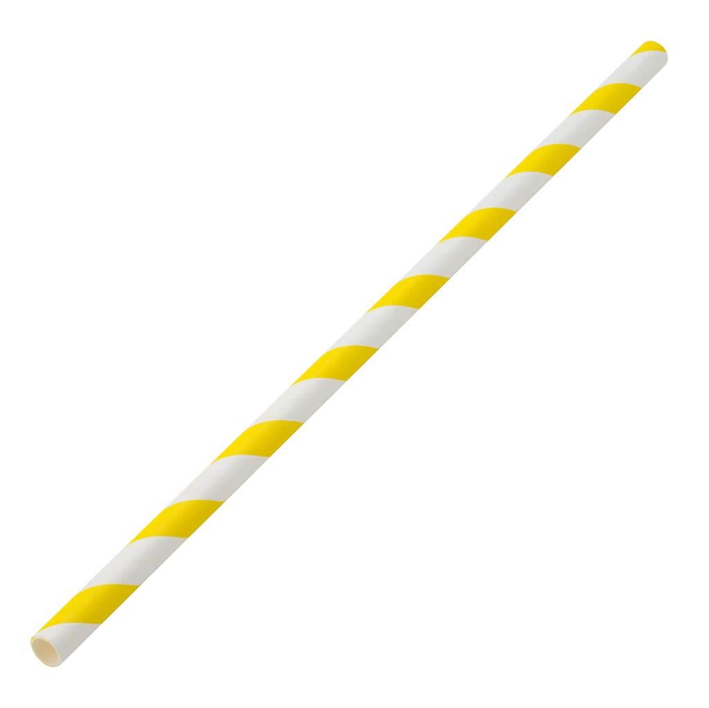 Paille papier rayée jaune 20cm /ø6mm (250 pcs)