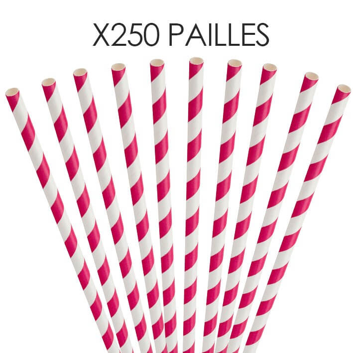 Paille papier rayée rose 20cm /ø6mm (250 pcs)