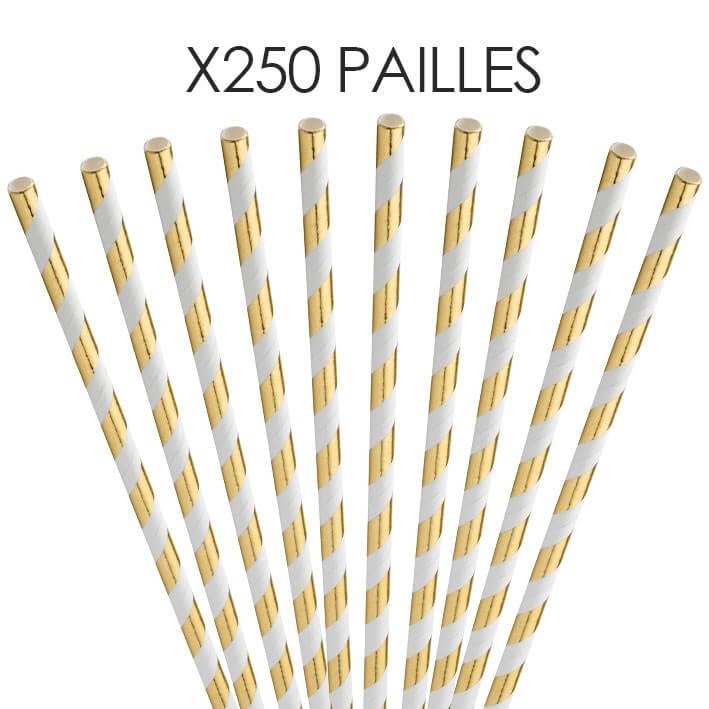 Paille papier rayée Or/Gold 20cm /ø6mm (250 pcs)