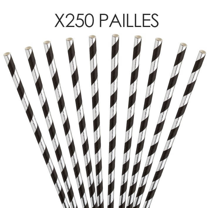 Paille papier rayée Argent/Noire 20cm /ø6mm (250 pcs)