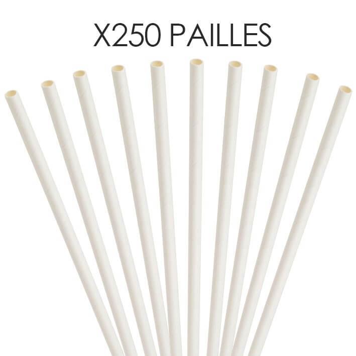 Paille papier blanche 20cm /ø6mm (250 pcs)