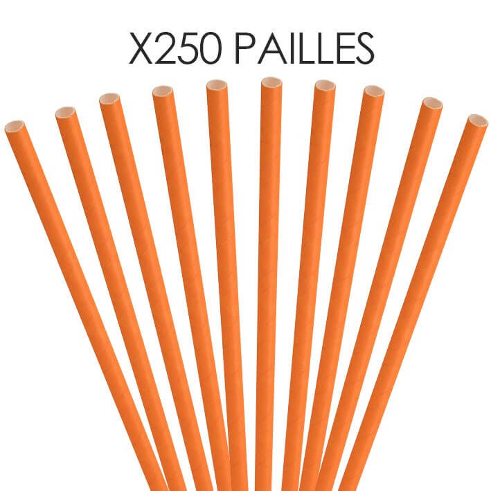 Paille papier orange 20cm /ø6mm (250 pcs)