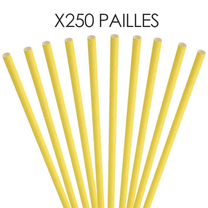 Paille papier jaune 20cm /ø6mm (250 pcs)