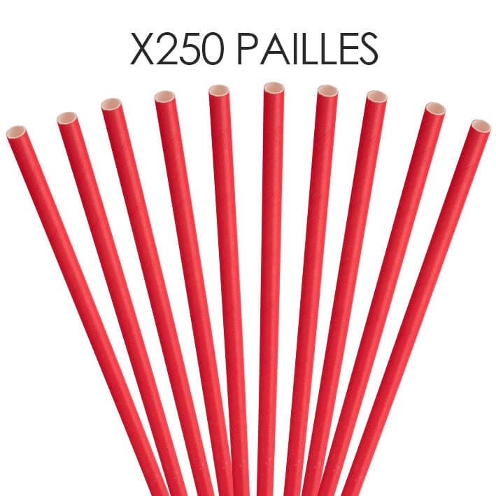Paille papier rouge 20cm /ø6mm (250 pcs)