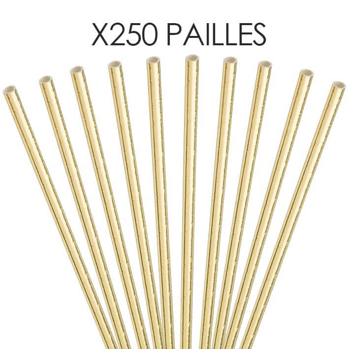 Paille papier Or/Gold 20cm /ø6mm (250 pcs)