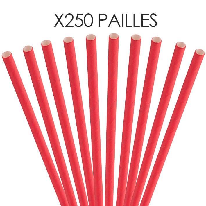 Paille papier rouge 14cm /ø5mm (250 pcs)