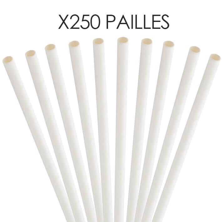 Paille papier blanche 14cm /ø5mm (250 pcs)