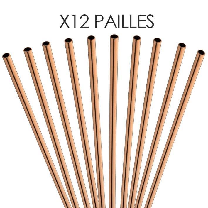 Paille inox réutilisable Or rose 21,5cm /ø6mm (12pcs)