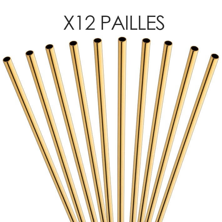 Paille inox réutilisable Or 14cm /ø6mm (12pcs)