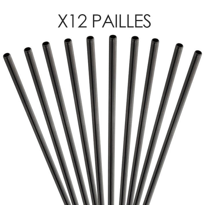 Paille inox réutilisable Noir mat 14cm /ø6mm (12pcs)